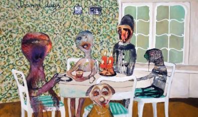 Una de las obras de la artista alemana que muestra a una familia sentada a la mesa
