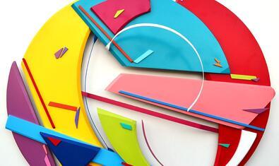 Una de les imatges abstractes i geomètriques que produeix l'artista