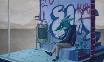 Una de las obras del artista que muestra a un lobo consultando su móvil en una parada de autobús