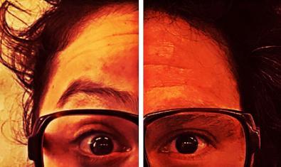 Retrato parcial del personaje protagonista con unas grandes gafas de pasta