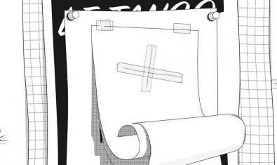 El dibujo de una hoja de un bloc de notas con una cruz dibujada sirve de cartel para la exposición