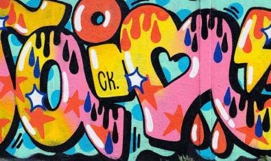 Un dels grafitis fets a còpia de lletres de l'artista barcelonina