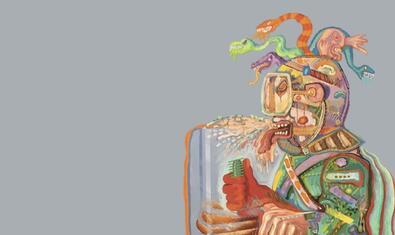 Una figura humana escopint fluïts i amb un cap ple de serps en una de les obres de l'artista que es poden veure a l'exposició