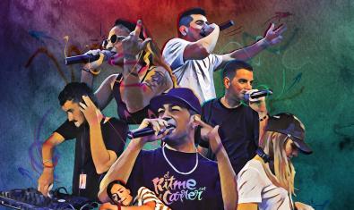 Una il·lustració que mostra aspectes diversos de la cultura hip hop que van des de la música i les rimes fins a les noves danses urbanes