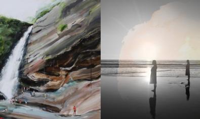 Collage format per dues obres dels dos artistes exposats