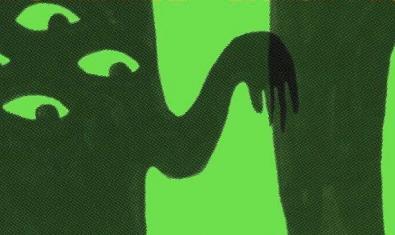 Un fragment del cartell que mostra unes estranyes criatures amb dues mans i un cos ple d'ulls