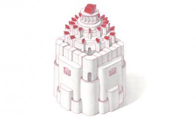 Un dels dibuixos de l'artista mostra una torre elevada coronada de decoracions de color vermell