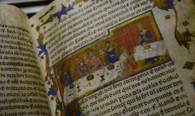 Miniatura procedente del 'Llibre dels Fets', de Jaime I, una de las joyas que se exponen