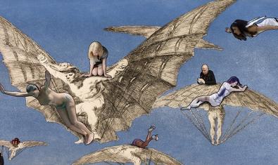 Una de las obras del artista con imágenes contemporáneas mezcladas con elementos de un grabado de Goya