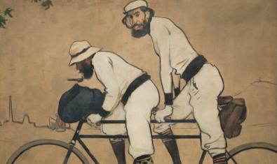 Ramon Casas i Pere Romeu en un tàndem