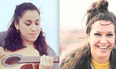Un collage de fotografies mostra les dues artistes en primer pla tocant la guitarra i somrient