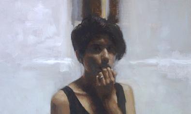 El retrat d'una noia que es tapa la boca amb una mà és una de les obres que es poden veure a l'exposició