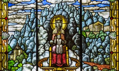The Virgin of Montserrat in a stained glass at the Museum of Modernism's exhibition