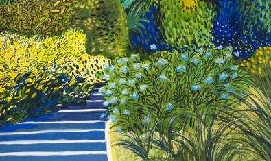 Fragmento de una obra de la artista que muestra una escalera que asciende entre flores y plantas