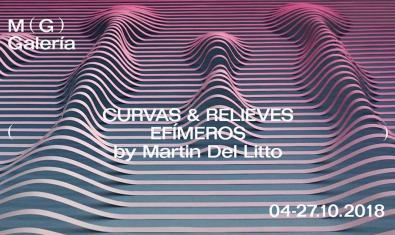 El cartel que anuncia la exposición muestra un paisaje abstracto hecho de curvas