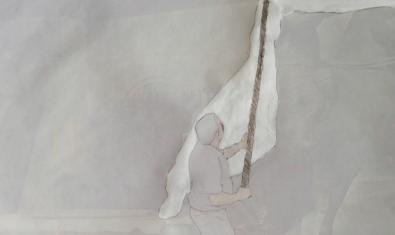 Una obra del artista que muestra a un hombre ondeando una bandera