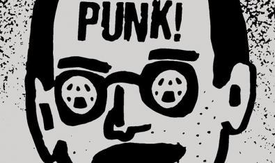Dibujo de un hombre con unas gafas con la letra A de anarquismo en los cristales y la palabra punk en la frente