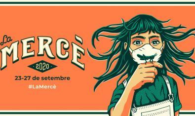 Una imatge del cartell d'enguany que mostra una noia sostenint una llagosta davant la cara coberta amb una mascareta