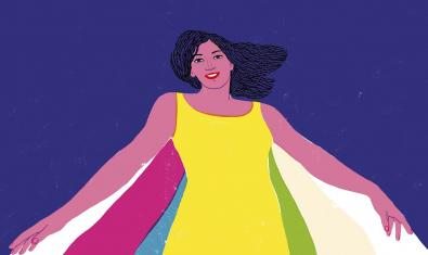 Imagen de la fiesta creada por Sonia Pulido que muestra a una mujer joven llevando una capa con rayas de colores