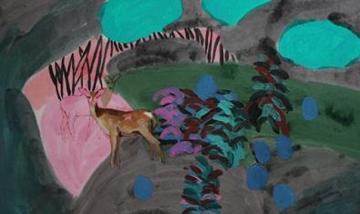 Una de les obres de l'artista mostra dos rens en un bosc