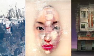 Collage amb imatges d'obres de Liu Guangyun, Marta Lafuente i Leticia Gaspar
