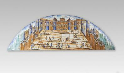 'La corrida de toros' is a ceramic panel that you can see in detail thanks to Google's gigaphoto system.