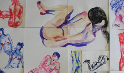Un collage realizat amb dibuixos de models nusos