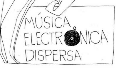El cartel de esta cita combina texto y el dibujo de un tocadiscos y un vinilo