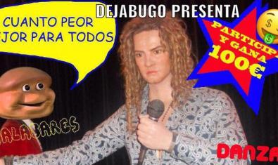 Cartell que anuncia el concurs de la companyia Dejabugo amb la imatge d'un cantant amb el micro a la mà