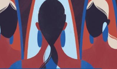 Una de las obras expuestas muestra una serie de perfiles femeninos consecutivos