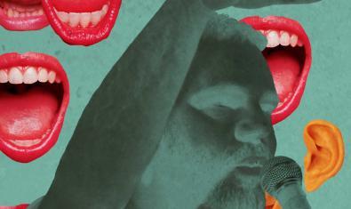 Collage amb la imatge d'un slammer reproduïda sobre un fons amb tot de boques obertes i orelles