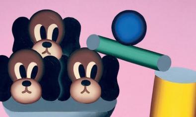 Una de las obras de estilo naif del artista muestra unas cabezas de perro dibujadas junto a unas figuras geométricas