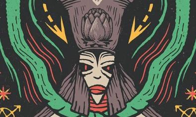 El dibuix d'una figura esotèrica amb grans ulls i un barret alt serveix per anunciar el concert