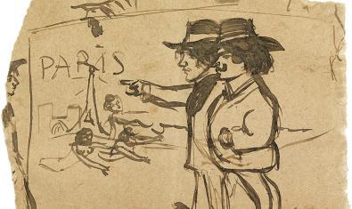Dibuix de Picasso de l'any 1900 present a l'exposició temporal