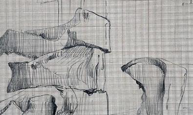 Un esbozo a lápiz del artista sobre papel reticulado que sugiere un espacio urbano en ruinas sirve para anunciar la exposición