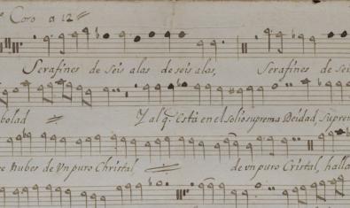 Partitura d'una nadala del fons musical de la Catedral de Barcelona, un dels fons digitalitzats de la Biblioteca de Catalunya