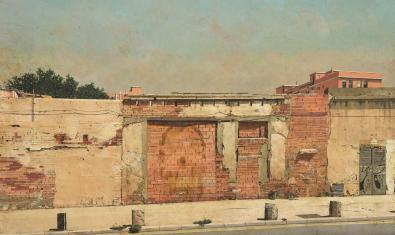 Un muro de ladrillo visto de una calle del Poblenou retratado por el artista con un estilo hiperrealista