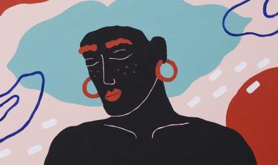 Un dels retrats de personatges sense sexe definit que formen part de l'exposició