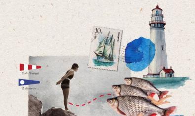 Un dibujo con motivos marítimos como un faro una bañista y unos peces ilustra el programa de las actividades que se organizan en el centro