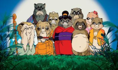 La familia de tanukis de la película