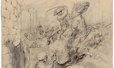 Dibuix que es pot veure a l'exposició temporal al Castell de Montjuïc
