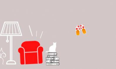 Una imatge de la sala d'estar d'un domicili i unes sabatilles serveix per anunciar les propostes