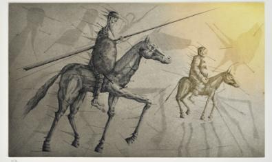 Aguafuerte de Joan Ponç dedicado al Quijote y que se puede ver estos días en la Galería Eude