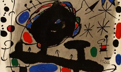 Vista parcial d'un disc de Raimon amb portada dissenyada per Joan Miró