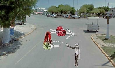 Collage d'una fotografia de Google Street d'un carrer de Mèxic i el dibuix d'un nen que mostra un assassinat