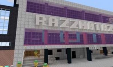Una imatge de la façana de la sala de concerts recreada amb Minecraft