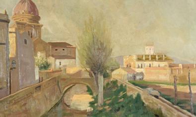 Pintura de Santiago Rusiñol del Rec Comtal al seu pas per Sant Andreu