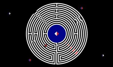 La imagen cenital de un laberinto sobre fondo negro sirve como cartel del encuentro