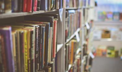 Estanterías de biblioteca con libros