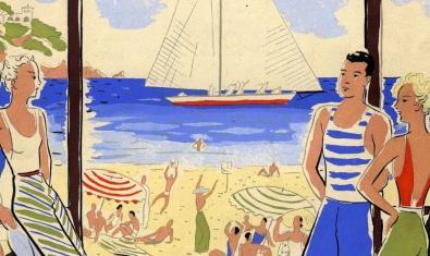 Dibujo de la portada de una de las publicaciones que se pueden ver a la muestra y que muestra unos turistas a la playa con un velero al fondo